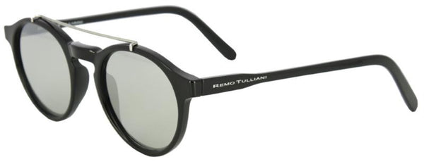 Black frames with a round shape and metal bar above the nose. Black mirror lenses