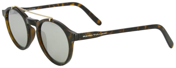 Brown and black tortoise shell frames with a round shape and metal bar above the nose. Black mirror lenses