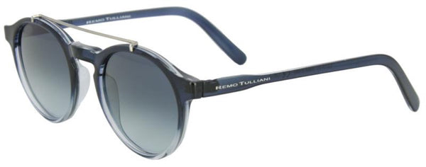 Sapphire blue frames fade to clear with a round shape and metal bar above the nose. Ash grey lens