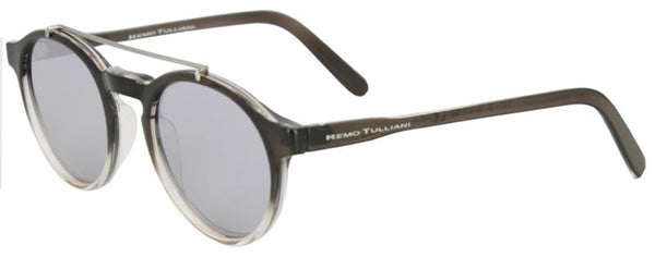 Black frames that fade to clear around the lenses with a round shape and metal bar above the nose. Violet mirror lenses