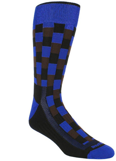 Black sock with blue band checkered black blocks with blue and brown interlaced. Blue toe and heel.