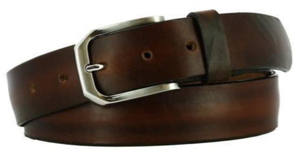 dark brown crushed leather strap with inconsistent ridging. A worn leather look with nickel buckle and dark brown loop.