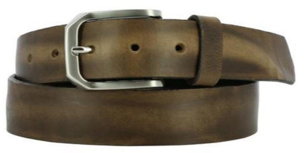 light brown crushed leather strap with inconsistent ridging. A worn leather look with nickel buckle and dark light loop.