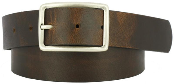 Brown coiled belt with oiled leather with worn look. Center bar buckle  in antiqued nickel