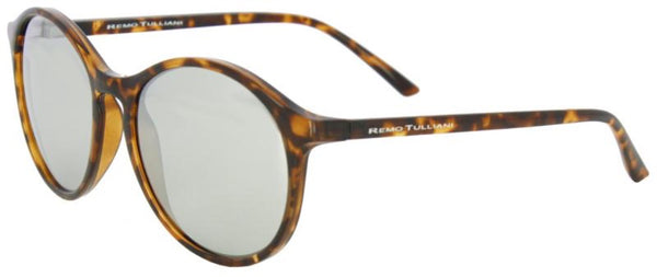 Large oval black, brown. and yellow tortoise shell frame with black mirrorlens