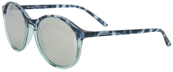 Large oval navy, blue, and clear tortoise shell frame with black miror lens