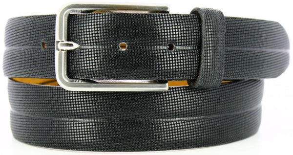 black micro-printed circles with a double ridged feel. Italian Brushed Nickel with matching loop.
