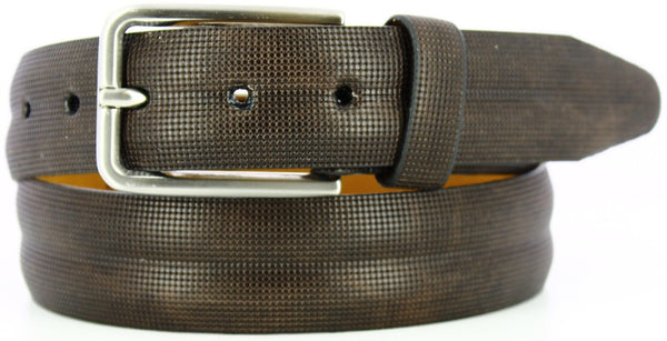 brown micro-printed circles with a double ridged feel. Italian Brushed Nickel with matching loop.