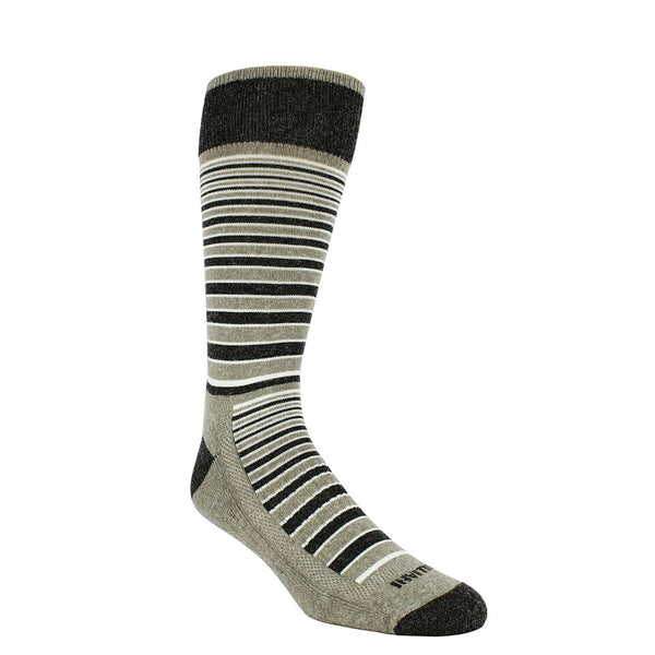 Taupe colored sock with black and white horizontal stripes. Dark grey loop at the top of sock, toe, and heel