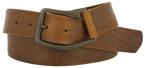 Coiled brown leather belt with oil rubbed brass buckle. Belt has a vintage and soft look.