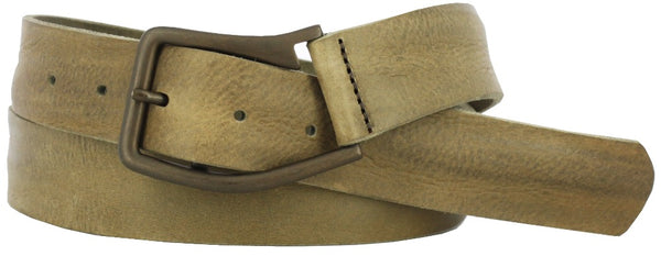 Coiled tan leather belt with oil rubbed brass buckle. Belt has a vintage and soft look.