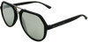 matte black shell angled aviator frames with silver mirrored lenses