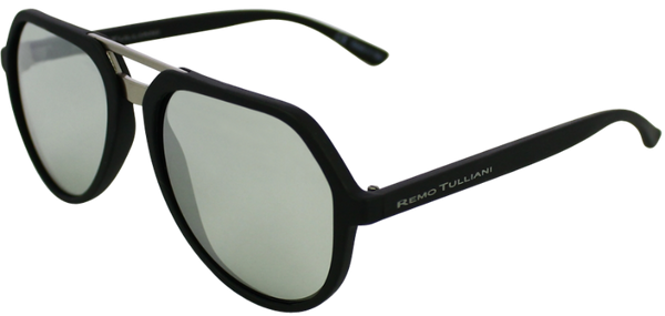matte black angled aviator frames with mirrored lenses