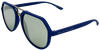 Matte blue angled aviator frames with mirrored lenses