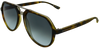 green tortoise shell angled aviator frames with black mirrored lenses