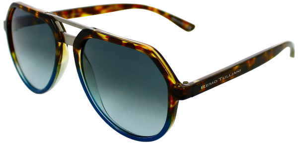 tortoise shell fade to blue angled aviator frames with ash grey lenses