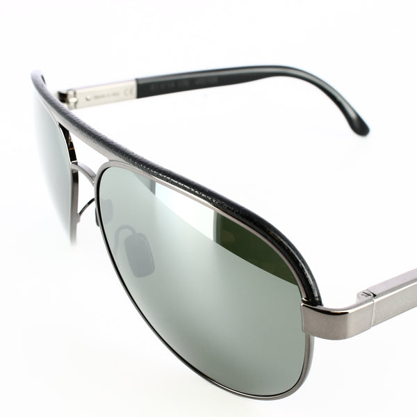 gunmetal grey framed aviator glasses with mirrored lenses