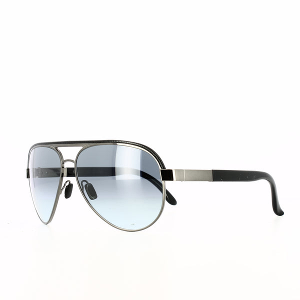 Gunmetal grey framed aviator glasses with blue-grey lenses