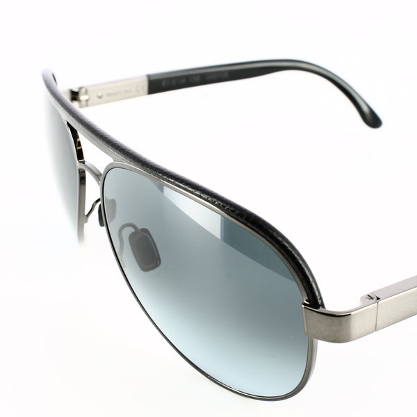 Gunmetal gray framed aviator glasses with blue-grey lenses