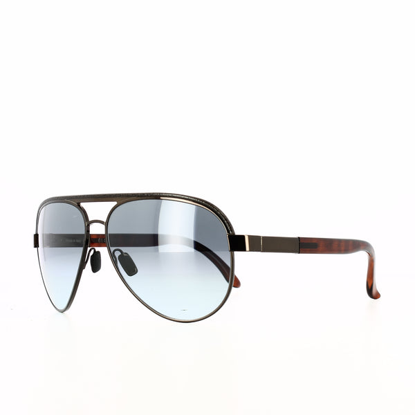 Bronze framed aviator glasses with blue-grey lenses