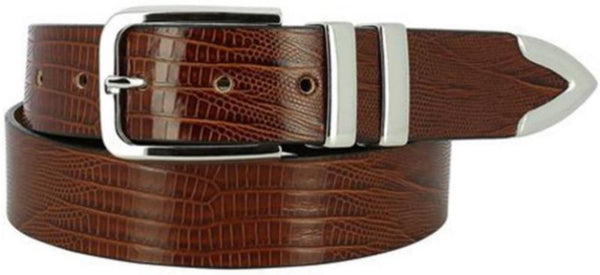 tan Italian-leather belt piloshed-nickel-buckle two-polished-nickel-loops polished-nickel-tip pointed-tip painted faux African-Cape-Lizard