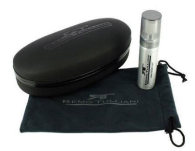 Sunglasses care set case liquid spray black leather glasses case with tulliani logo pressed on top. Felt tie bag with tulliani logo in center