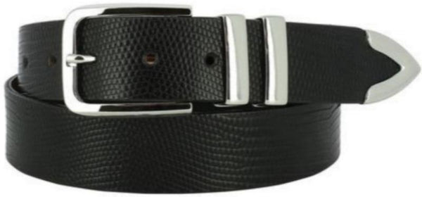 Black Italian-leather belt piloshed-nickel-buckle two-polished-nickel-loops polished-nickel-tip pointed-tip painted faux African-Cape-Lizard