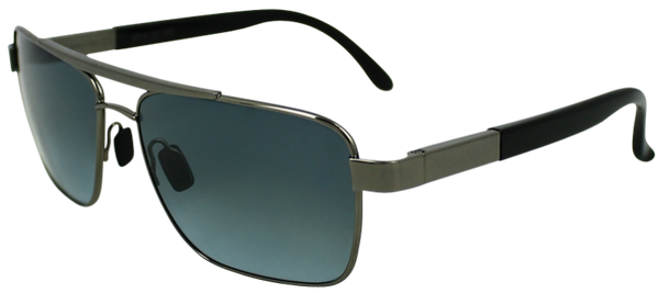Grey colored metal frame with squared aviator style lenses. Black rubber ear protection.