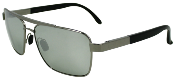 Grey colored metal frame with squared aviator style lenses. Black rubber ear protection. Mirrored lenses