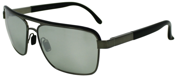 Grey colored metal frame with squared aviator style lenses. Black over ears and lenses. Mirrored lenses
