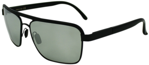 Black metal frame with squared aviator style lenses. Mirrored lenses