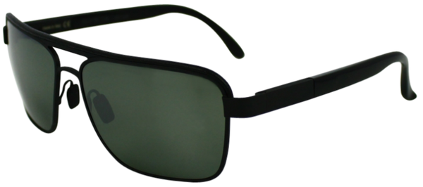 Black colored metal frame with squared aviator style lenses. Mirrored lenses