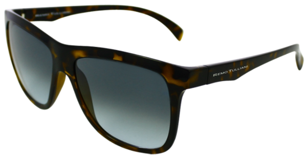 Brown, black, and yellow tortoise shell rectangular lenses with blue grey lenses