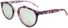 pink tortoise shell round frame sunglasses with white mirror lenses