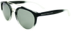 matte black fades to clear round frame sunglasses with ash grey  lenses