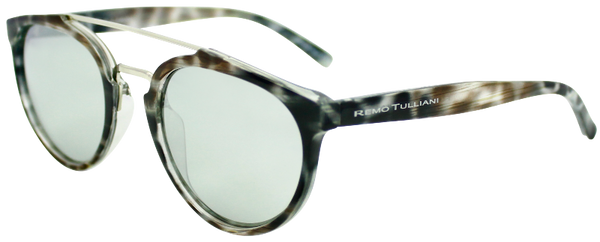 black tortoise shell round frame sunglasses with white mirror lenses