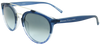 matte blue to clear round frame sunglasses with ash grey mirror lenses