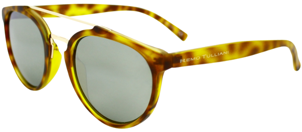 yellow round frame sunglasses with ash grey lenses