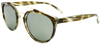 linear tortoise shell pattern round frame sunglasses with ash grey lenses