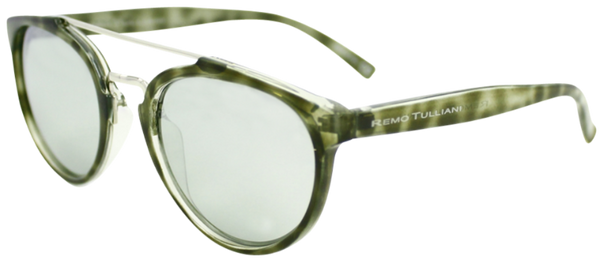 green tortoise shell round frame sunglasses with white mirror lenses