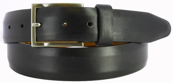 Black antiqued leather with visible paint strokes. Thin Italian brushed nickel buckle and black loop.