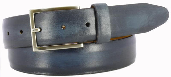 Navy antiqued leather with visible paint strokes. Thin Italian brushed nickel buckle and navy loop.