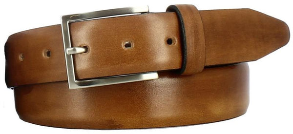 tan antiqued leather with visible paint strokes. Thin Italian brushed nickel buckle and tan loop.