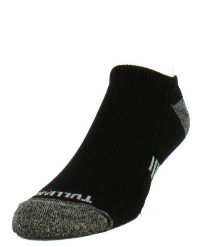 Black sock with heather grey toe and heel. Tulliani name stitched beneath the toe.