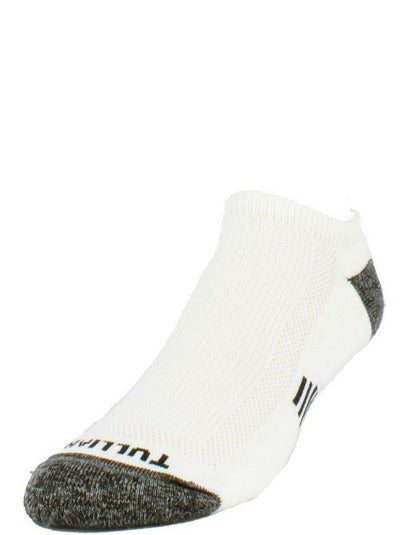 White sock with heather grey toe and heel. Tulliani name stitched beneath the toe in black.