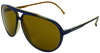 Blue aviator frames with gold lenses