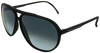 Matte black aviator sunglasses with ash grey frame