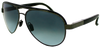 gunmetal grey aviator sunglasses with black temple and blue-grey lenses