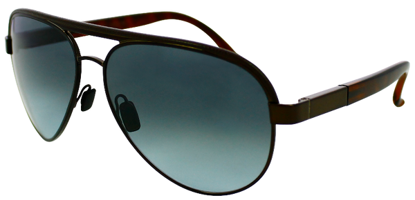 black aviator sunglasses with tortoise shell temple and blue-grey lenses