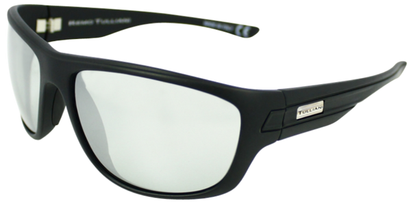 matte black classic sport frame with silver mirror lenses